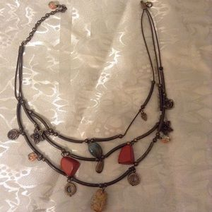 Multi strand genuine stones leather necklace